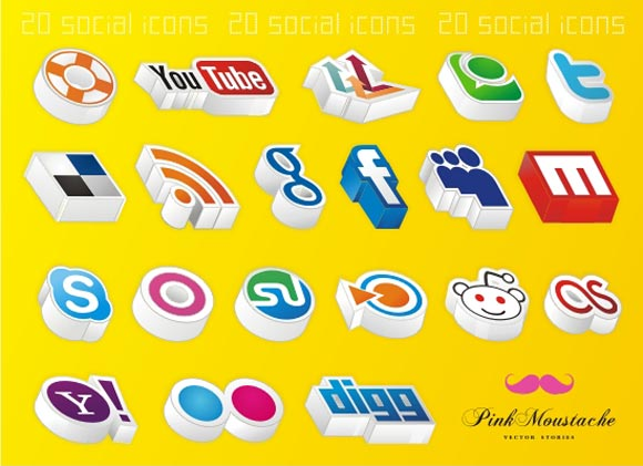 20 Amazing 3D Social Icons