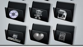 Black Folder Icon Set by Ilnanny