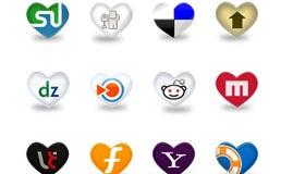 Heart Shape Social Media Icons