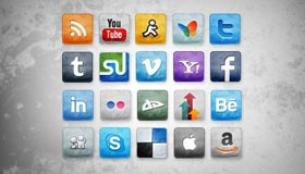 Stained and Faded Social Icons