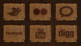 Woven Fabric Social Media Icons