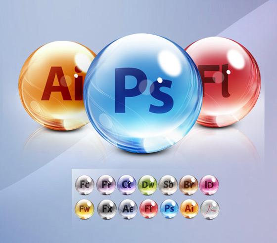 Adobe CS5 Glass Dock Icons