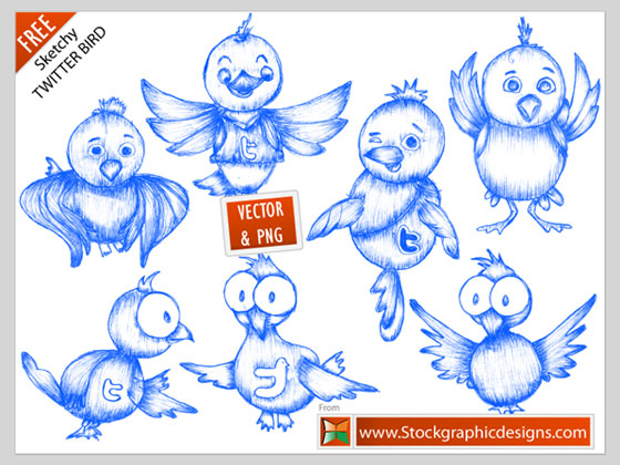 Free twitter bird by Stockgraphicdesigns