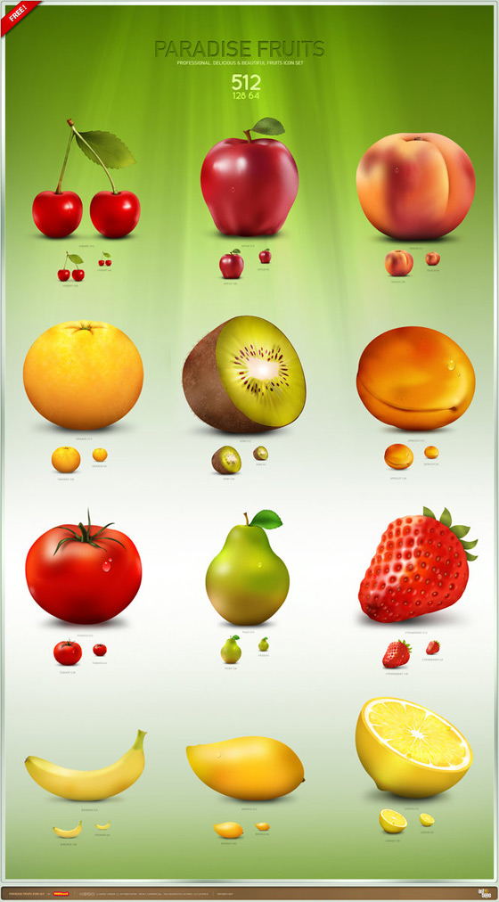 Paradise Fruit Icon Set by Artbees
