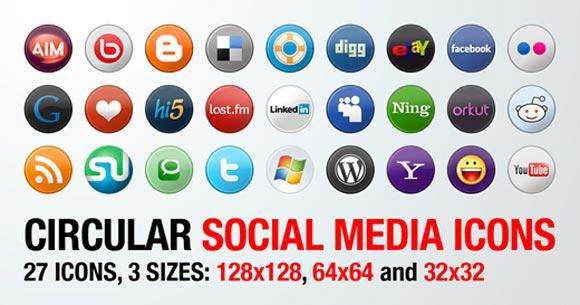 27 Circular Social Media Icons