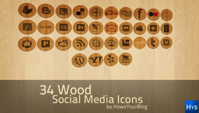 34 Wood Social Media Icons by Fiyah-gfx