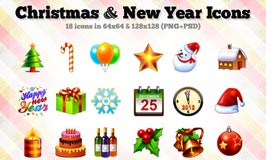 18 Christmas / New Year Icons