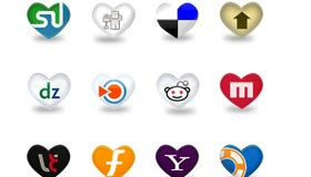 Heart Shape Social Media Icons