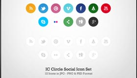 IC Circle Social Icon Set