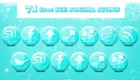 Free Glossy Ice Social Icons by PsdDude