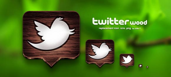 Twitter Wood Icons by Side-7