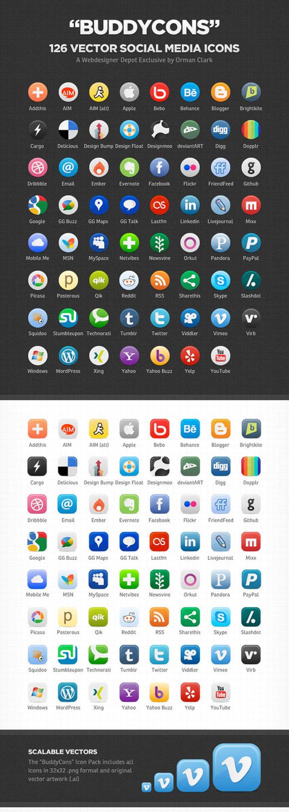 Vector Social Media Icons by Ormanclark