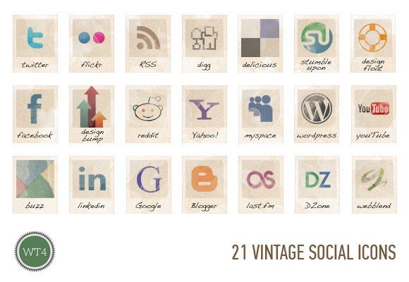 Free Social Vintage Icons